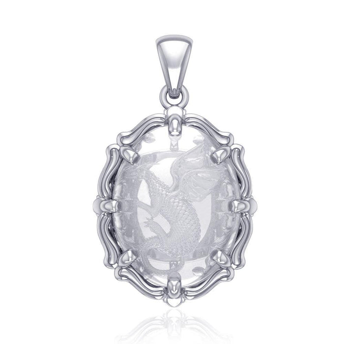 Beyond the dragon fierce presence -  Sterling Silver Pendant with Natural Clear Quartz TPD5122