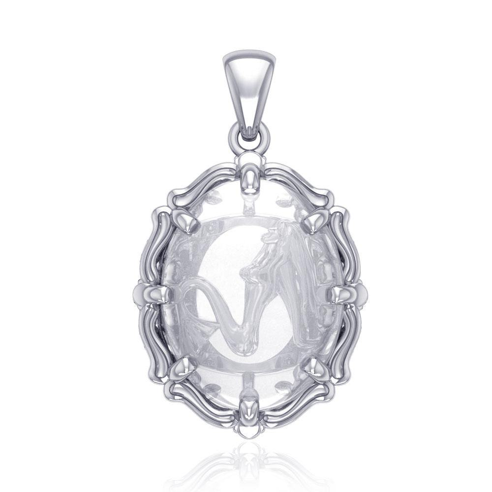 Mermaid Sterling Silver Pendant with Natural Clear Quartz TPD5127