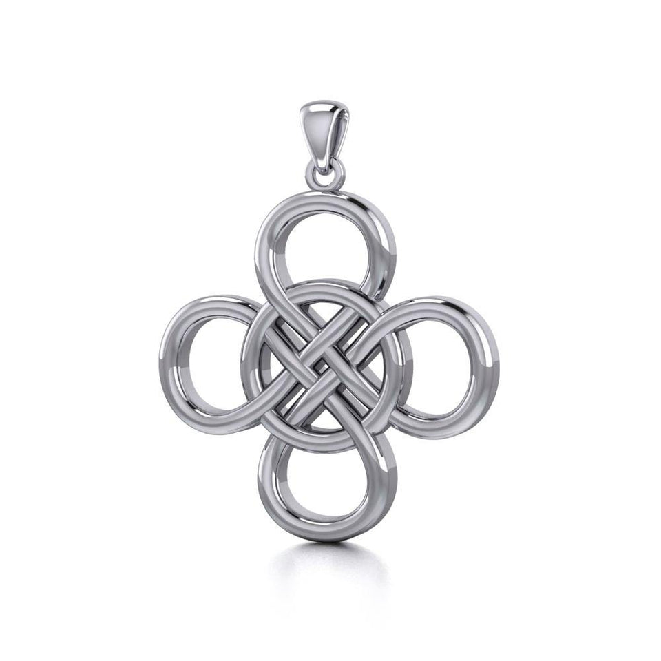 Celtic Four Point Infinity Knot Sterling Silver Pendant TPD5131 peterstone.