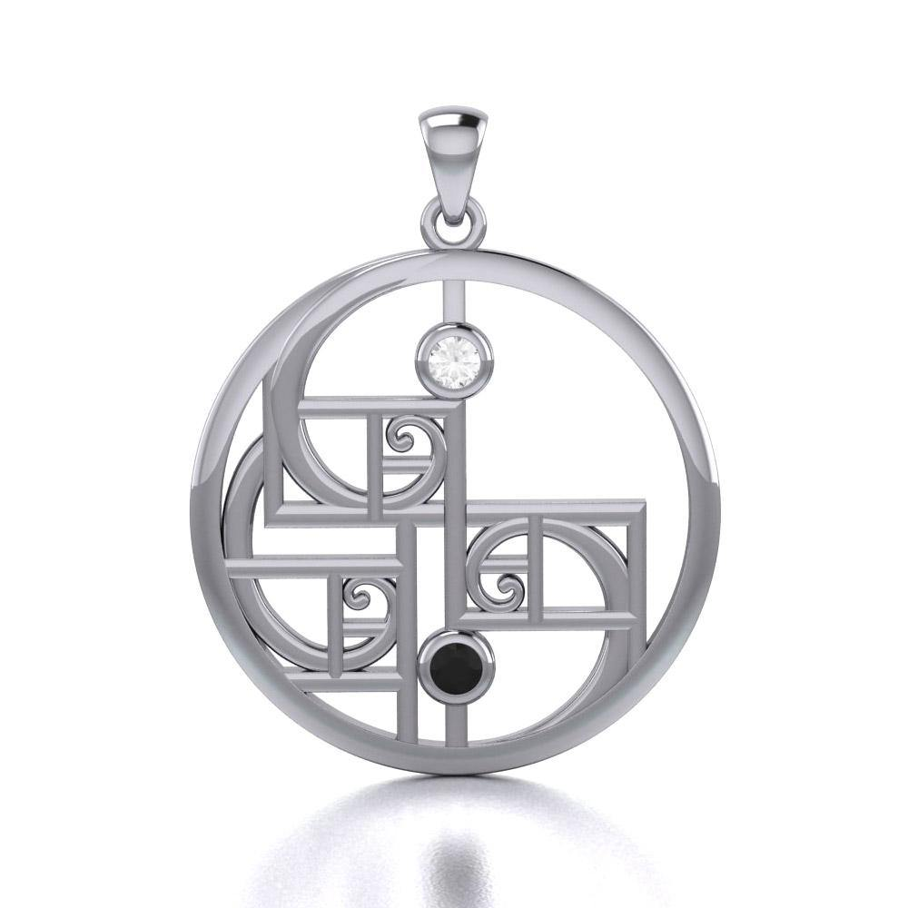 Yin Yang Golden Spiral Silver Pendant with Gemstone TPD5135