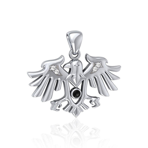 Raven Silver Pendant with Gemstone TPD5157