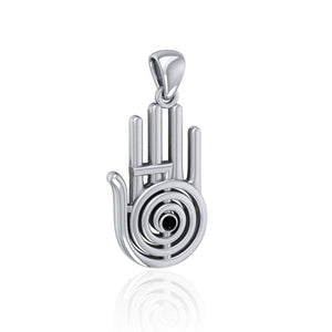 Healer Hand Symbol Silver Pendant with Gemstone TPD5158 peterstone.