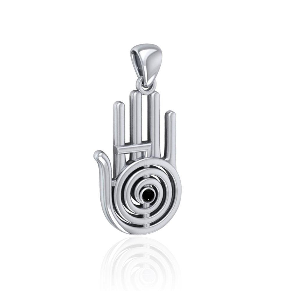 Healer Hand Symbol Silver Pendant with Gemstone TPD5158
