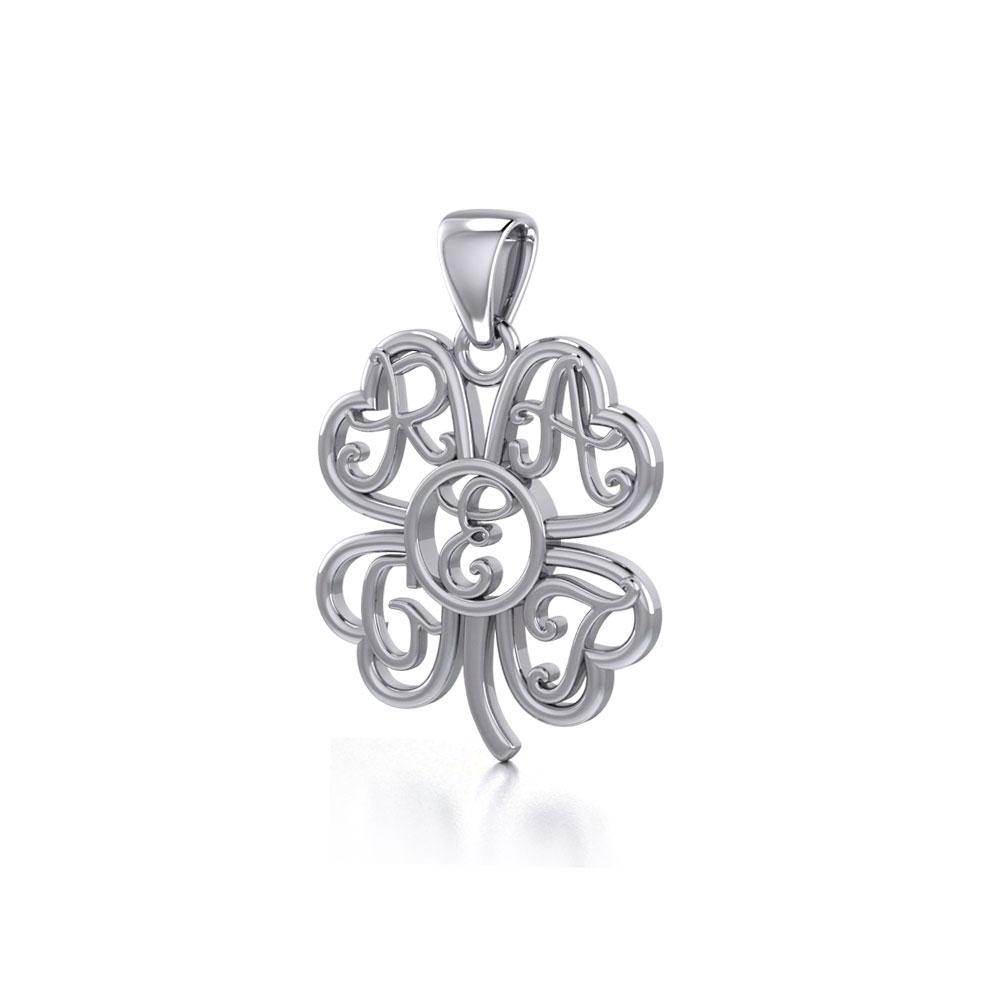 GREAT Monogramming Four Leaf Shamrock Clover Silver Pendant TPD5161