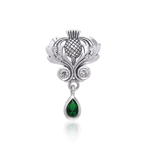Renowned affirmation of Celtic tradition ~Sterling Silver Jewelry Scottish Thistle Pendant with Gemstone accent TPD687 peterstone.