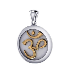 Om Meditation Silver and Gold Pendant TPV1229 peterstone.