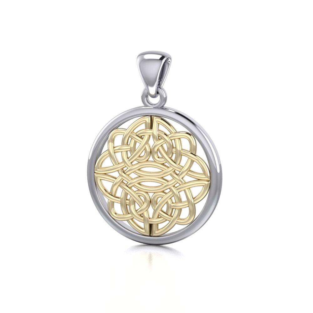 Celtic Knotwork Silver and Gold Pendant