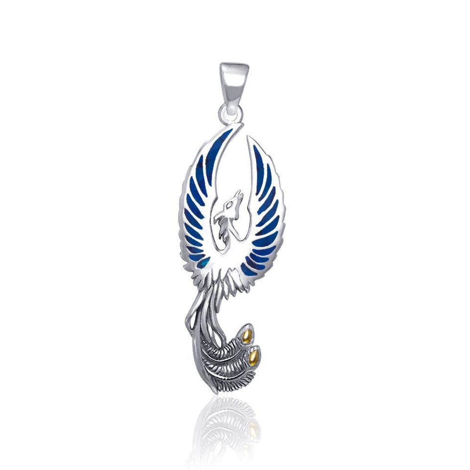 Flying Phoenix Silver Pendant with Gem TPV2838