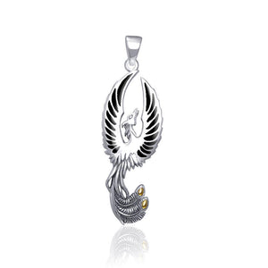 From the ashes rises the rebirth of the  phoenix A fine sterling silver Pendant TPV2838