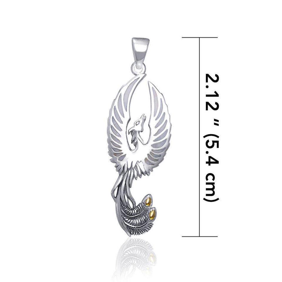 From the ashes rises the rebirth of the  phoenix A fine sterling silver Pendant TPV2838 peterstone.