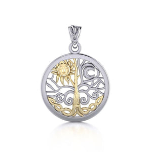 A Lifetime Treasure ~ 14k Gold accent and Sterling Silver Jewelry Pendant TPV3109 peterstone.