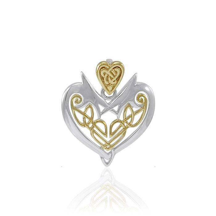 Joyous Heart Celtic Knotwork Silver and Gold Pendant TPV3444