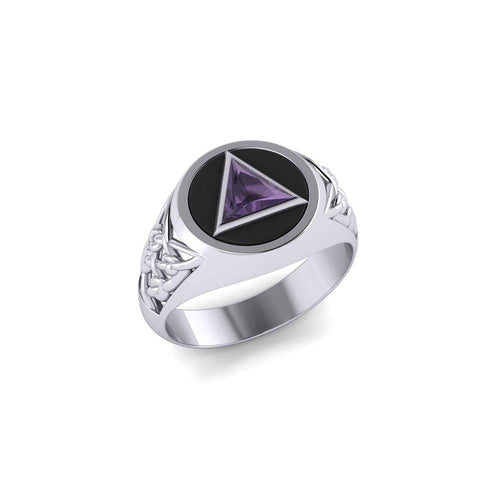 Celtic AA Symbol Silver Ring with Gemstone TR1020 Ring