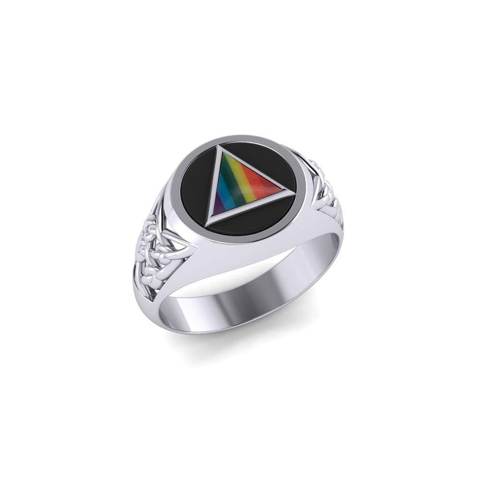 Celtic AA Symbol Silver Ring with Gemstone TR1020