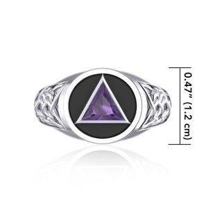 Celtic AA Symbol Silver Ring with Gemstone TR1020 peterstone.