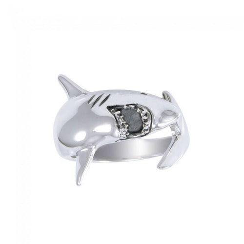 Theres nothing to fear in Sterling Silver White Shark Ring TR1481 peterstone.