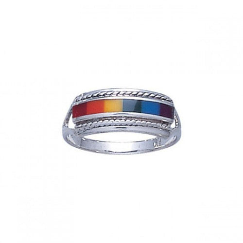 Sterling Silver Rainbow Ring TR164 peterstone.