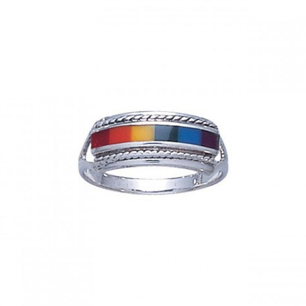 Sterling Silver Rainbow Ring TR164
