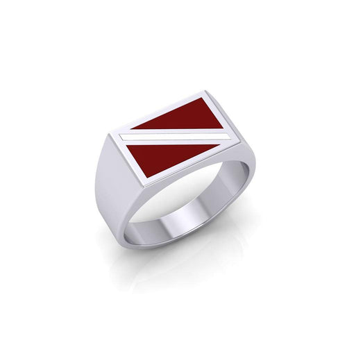 Red and White Dive Flag Silver Ring TR1796 peterstone.