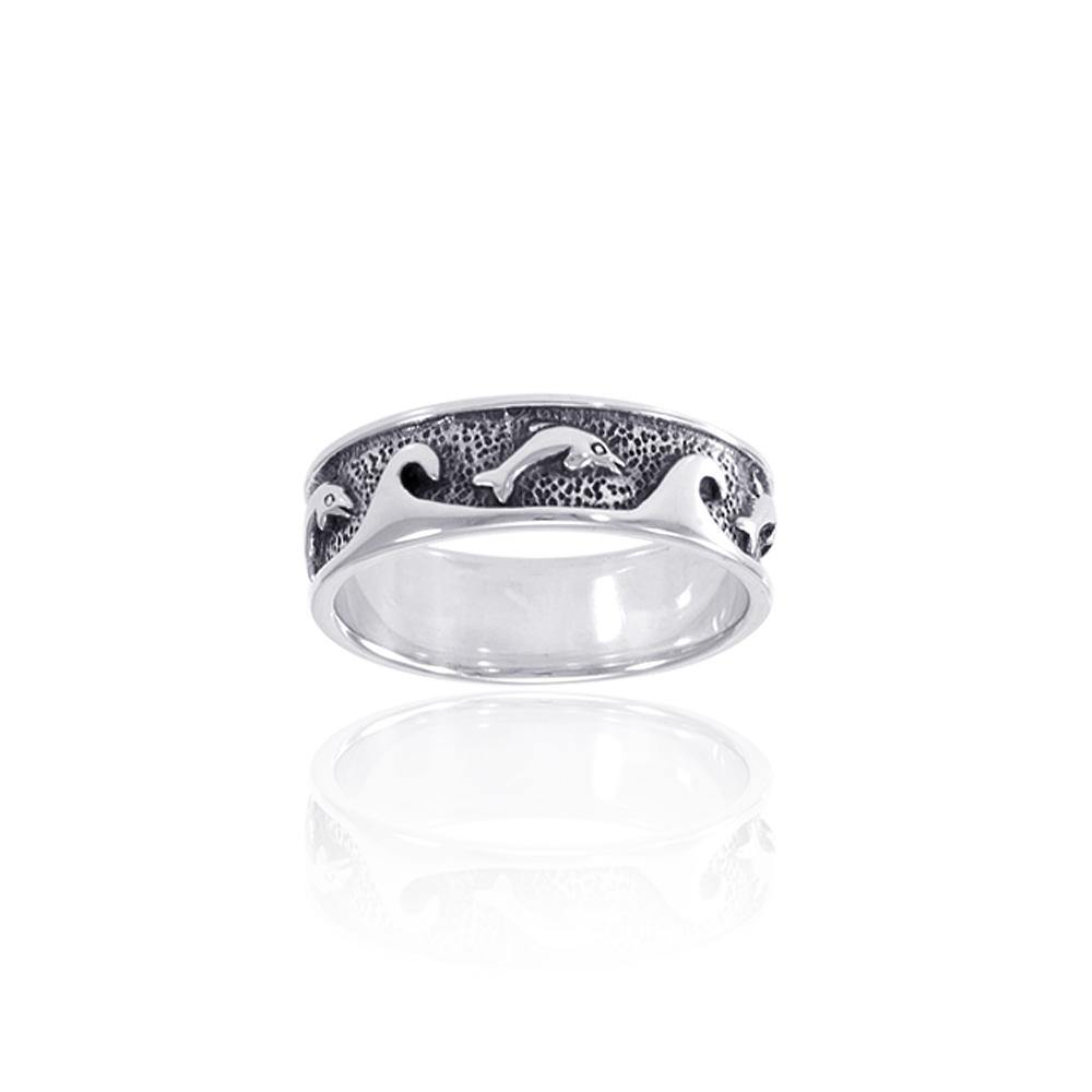 Dolphin and Waves Silver Band TR219