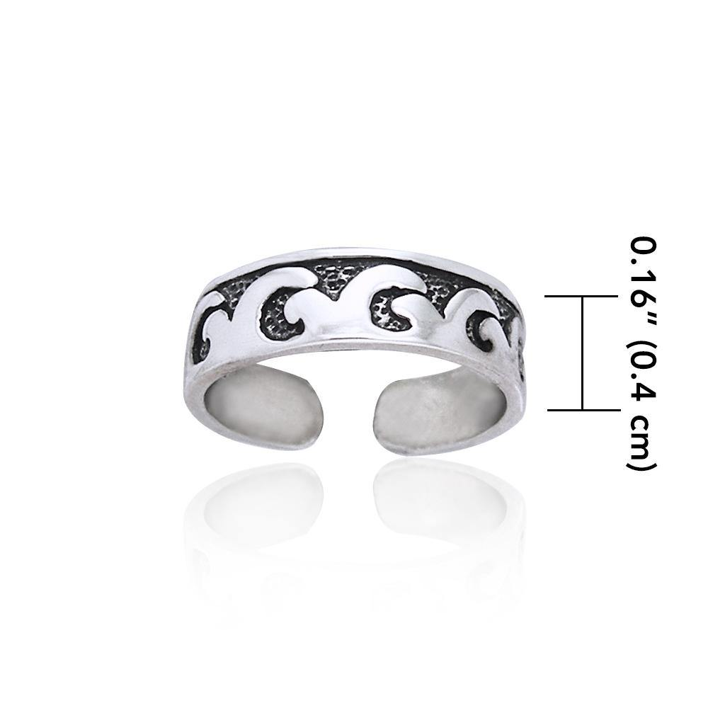 Calm or rough waves in the sparkling sea ~ Sterling Silver Toe Ring
