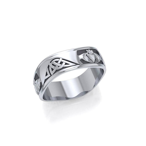 Celtic Knotwork Silver Claddagh Ring TR2923 peterstone.