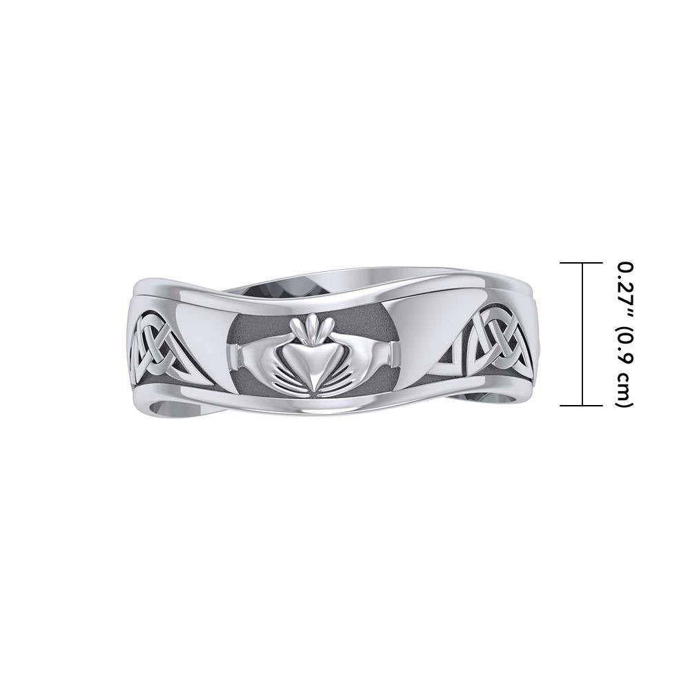 Celtic Knotwork Silver Claddagh Ring