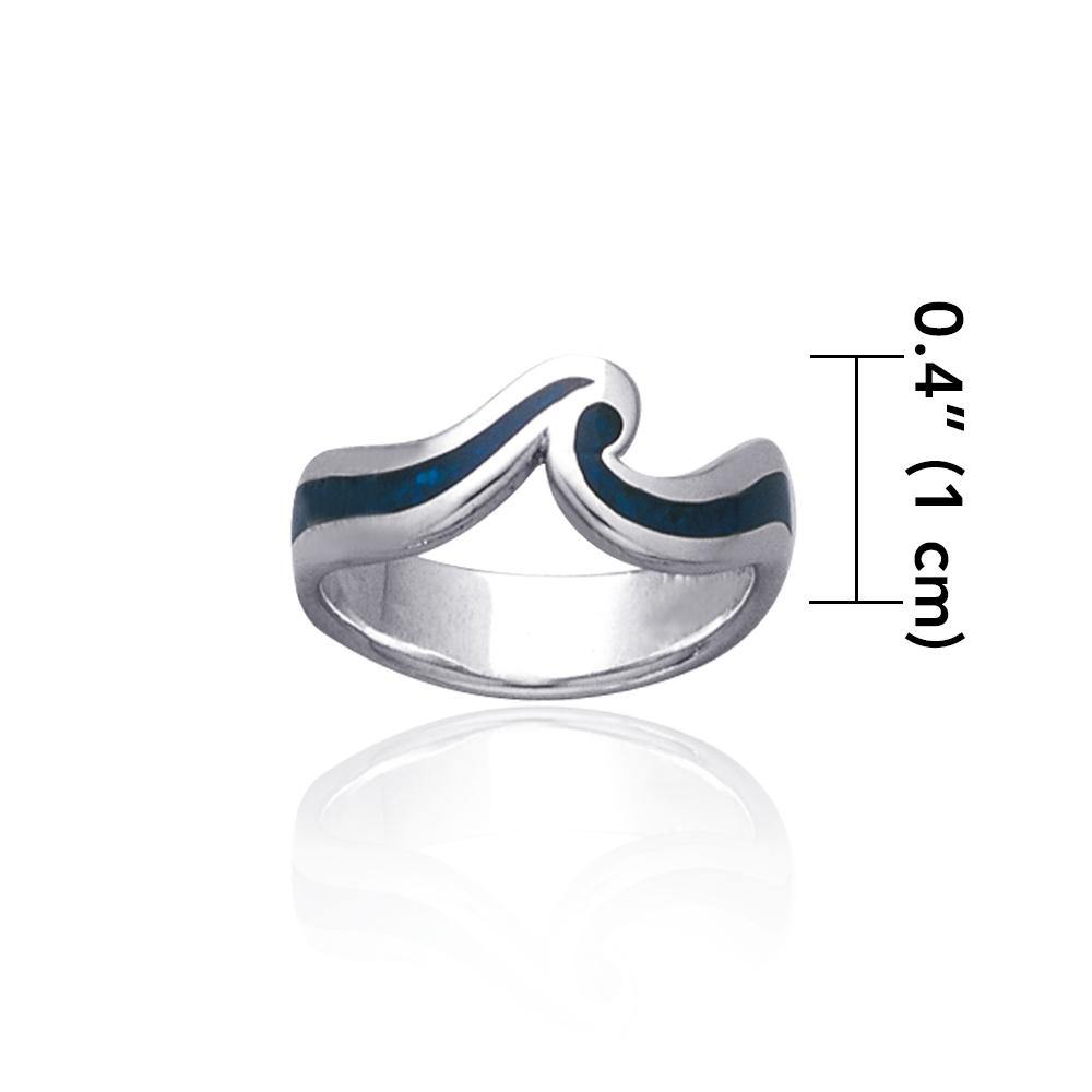 A happy moment when out to play with the sea waves ~ Sterling Silver Jewelry Inlaid Ring