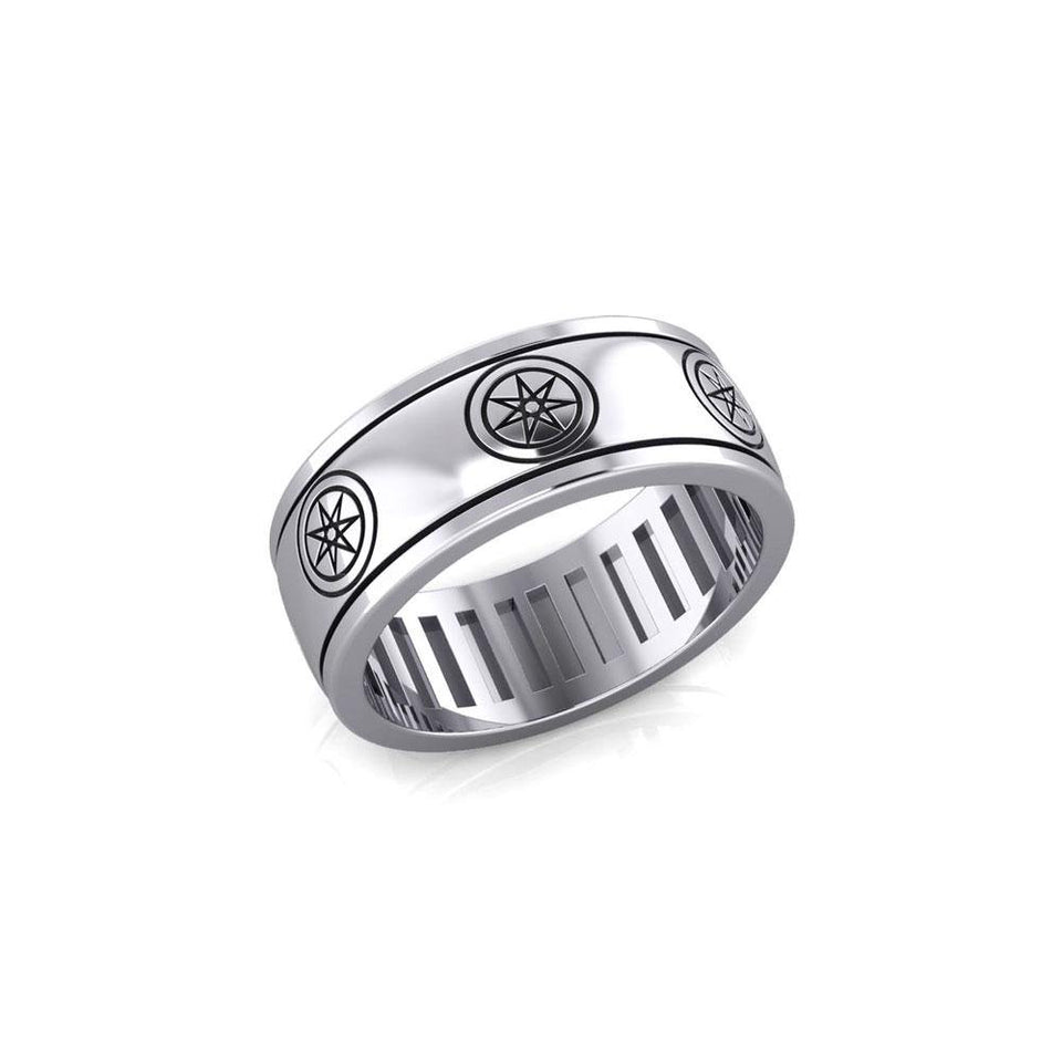 Elven Star Silver Spinner Band Ring TR3754