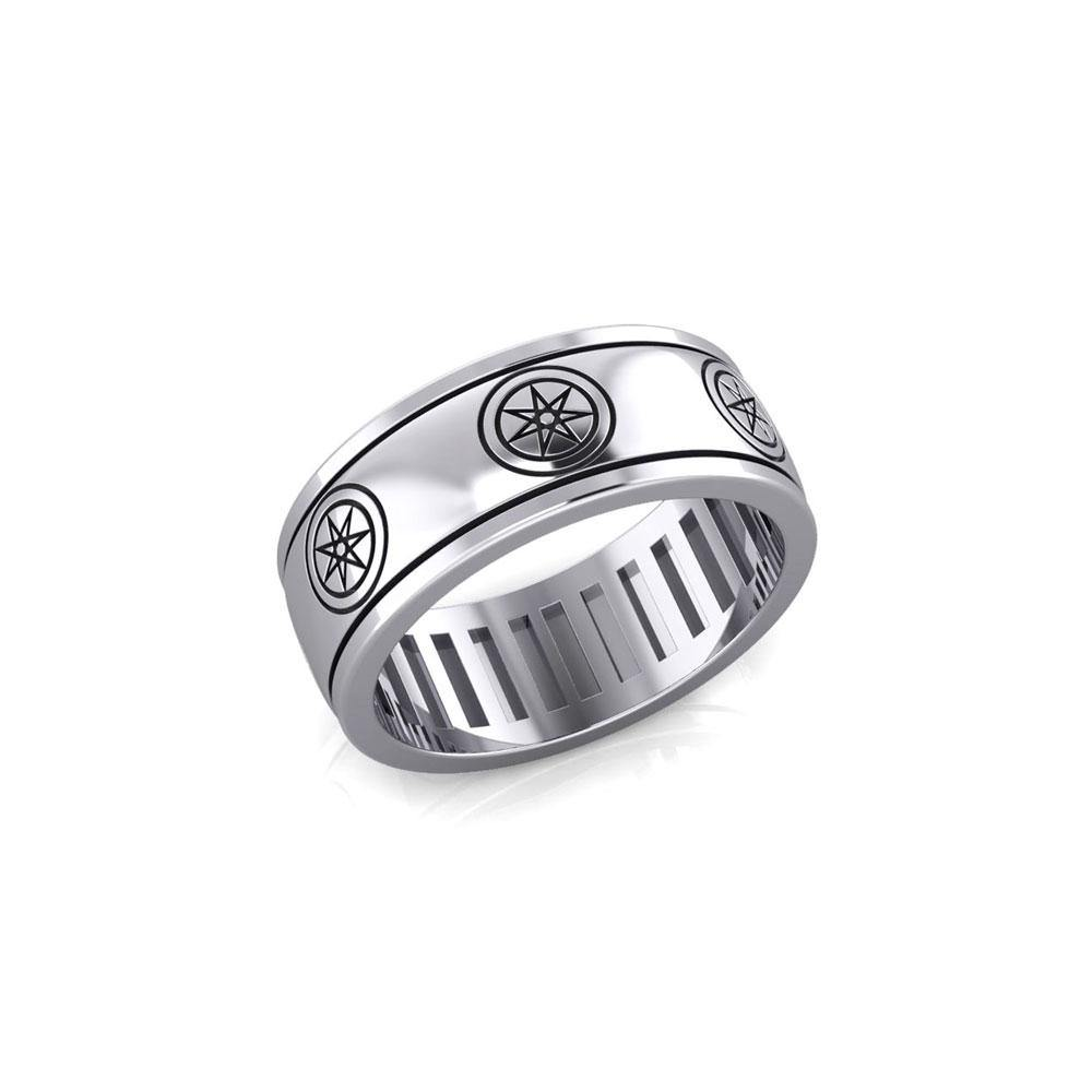 Elven Star Silver Spinner Band Ring TR3754 Ring