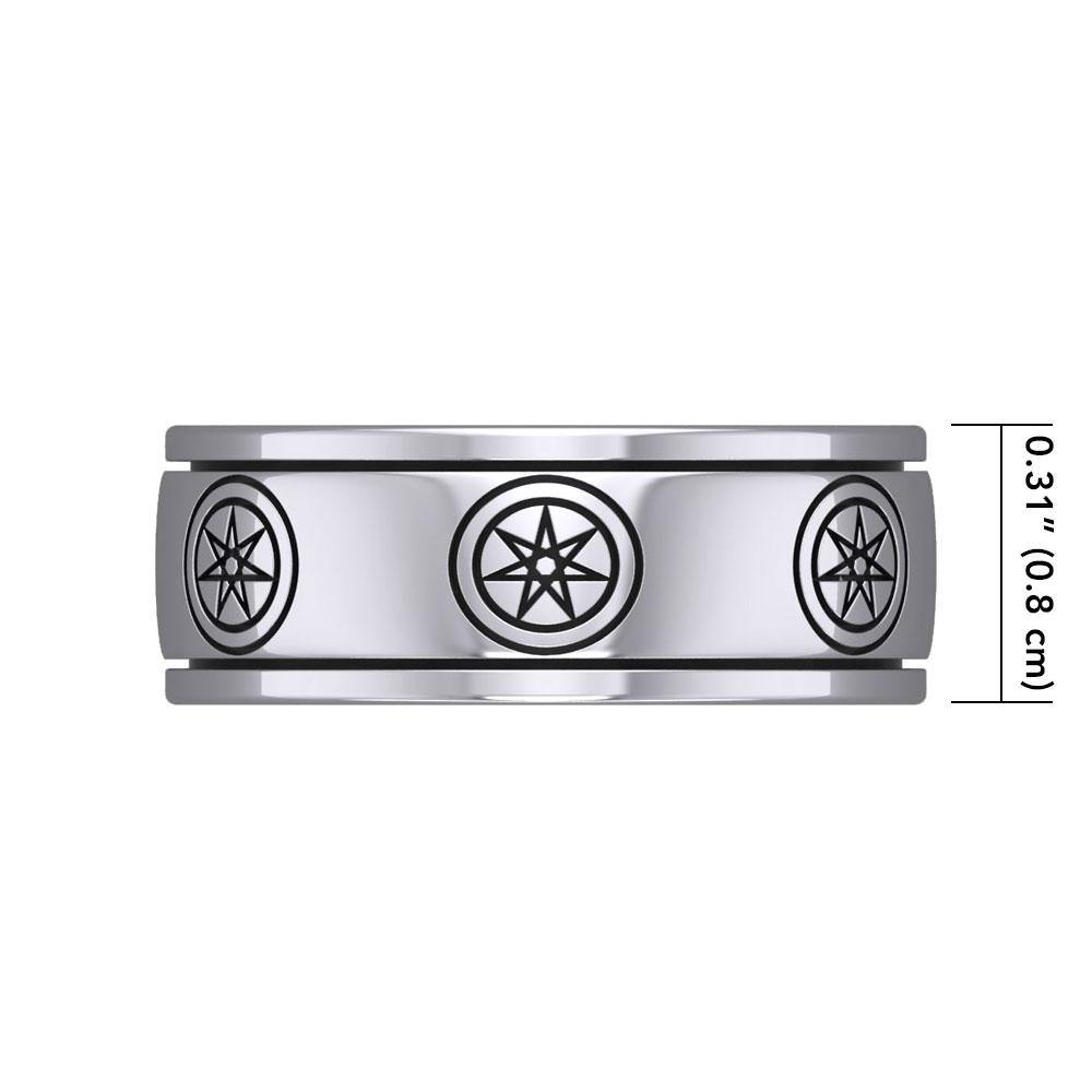 Elven Star Silver Spinner Band Ring