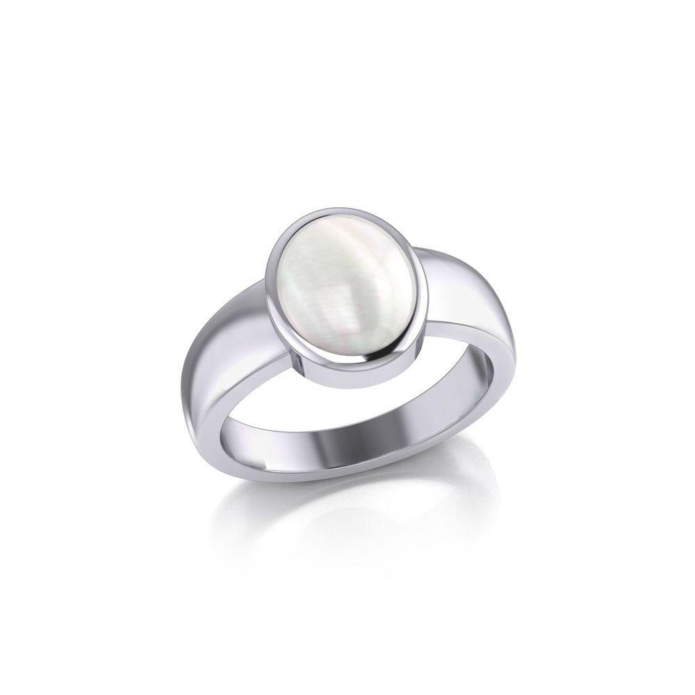 Modern Round Shape Inlaid Silver Ring