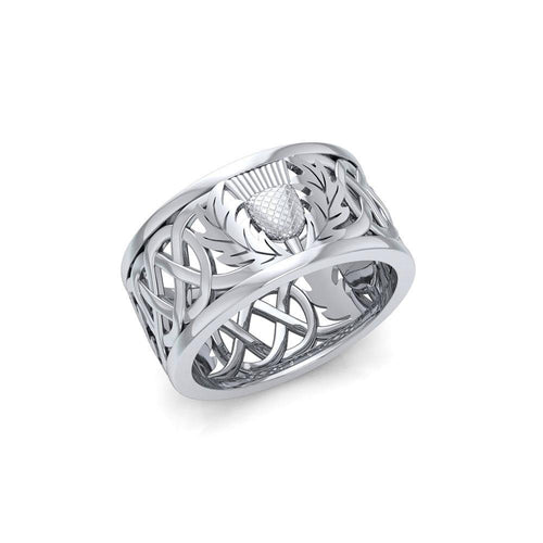 Scottish Thistle of Pride and Honor ~ Sterling Silver Ring TR3875