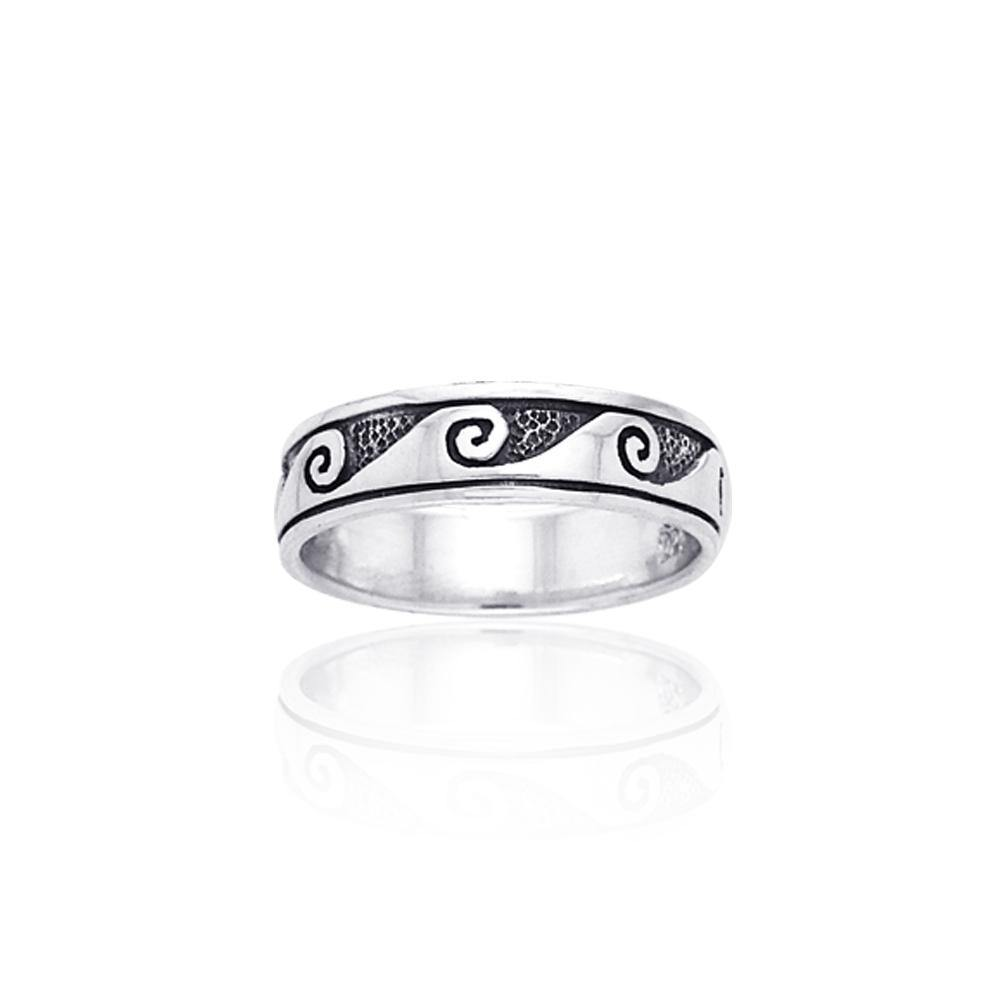 Shallow Surf Waves in the Sea ~ Sterling Silver Jewelry Ring TR553 peterstone.