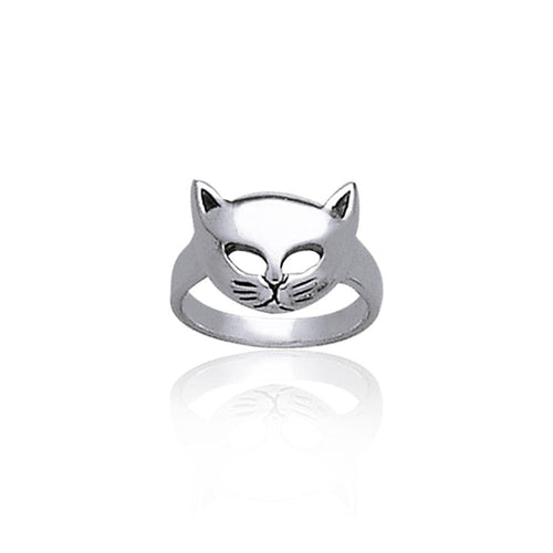 Lift up your playful spirits ~ Sterling Silver Cat Mask Ring TR687 peterstone.