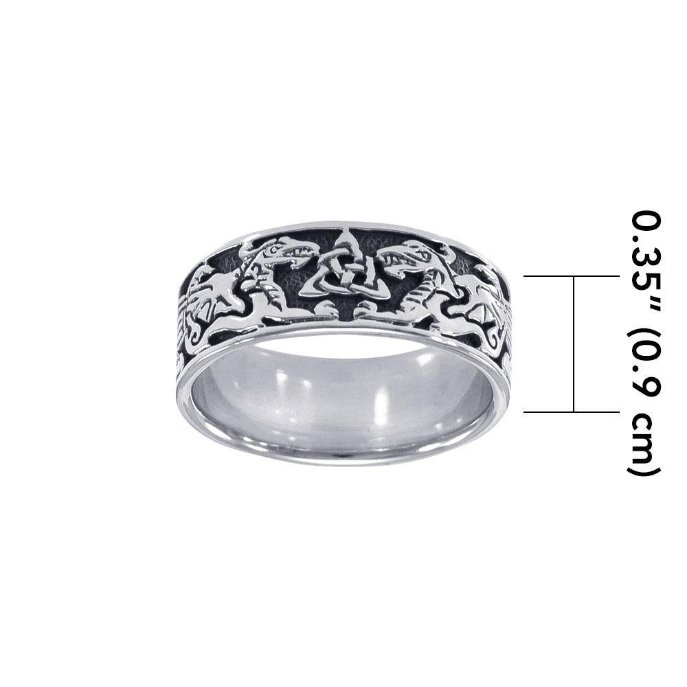 Celtic Dragons Trinity Knot Silver Ring
