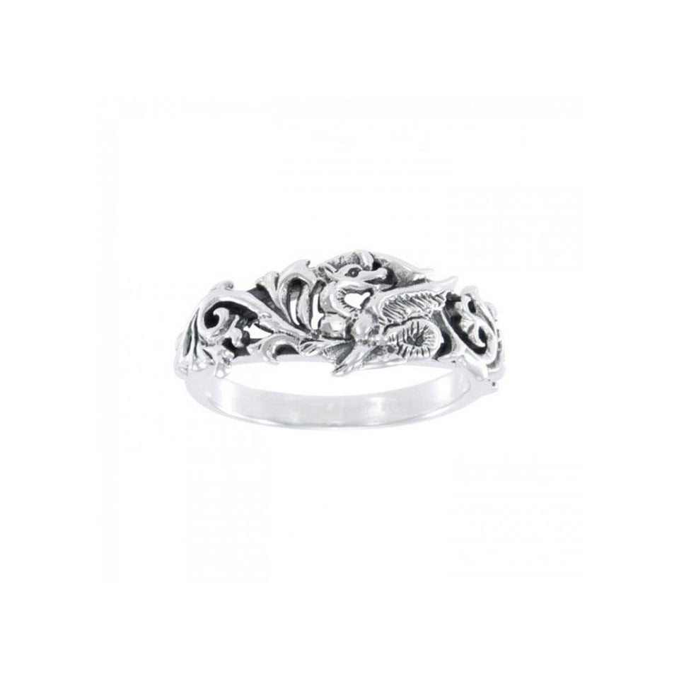 Dragon Scroll Silver Ring TR940 peterstone.