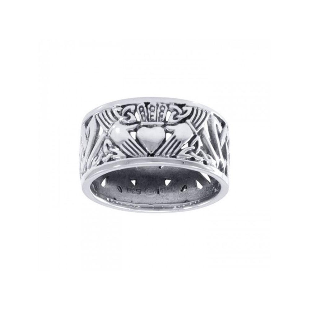 Celtic Claddagh Triquetra Silver Ring TRI002