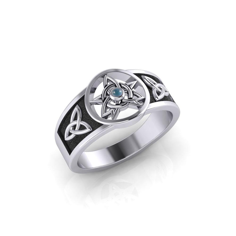 Celtic Trinity Pentacle Silver Ring