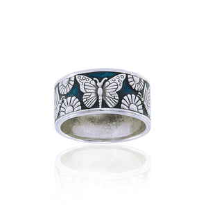In a multicolored world of flowers and butterflies ~ Sterling Silver Jewelry Ring TRI104 peterstone.