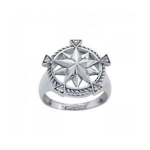 Compass with Gemstone Silver Ring TRI1073 peterstone.
