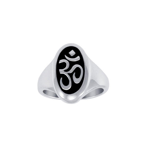 Oval Shape Om Symbol Silver Ring TRI1222 peterstone.