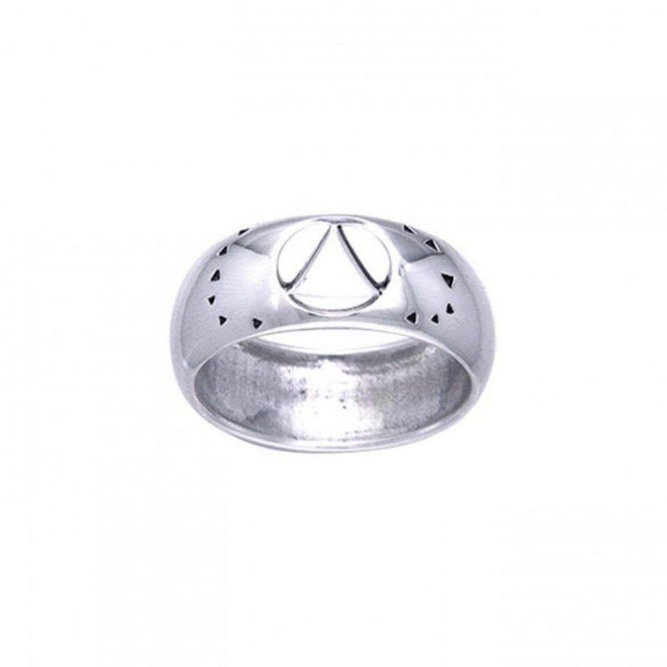AA Symbol Silver Ring with Cut Outs TRI124