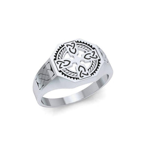 A traditional symbol of faith and spirituality ~ Sterling Silver Jewelry Celtic Cross Ring TRI1316 peterstone.