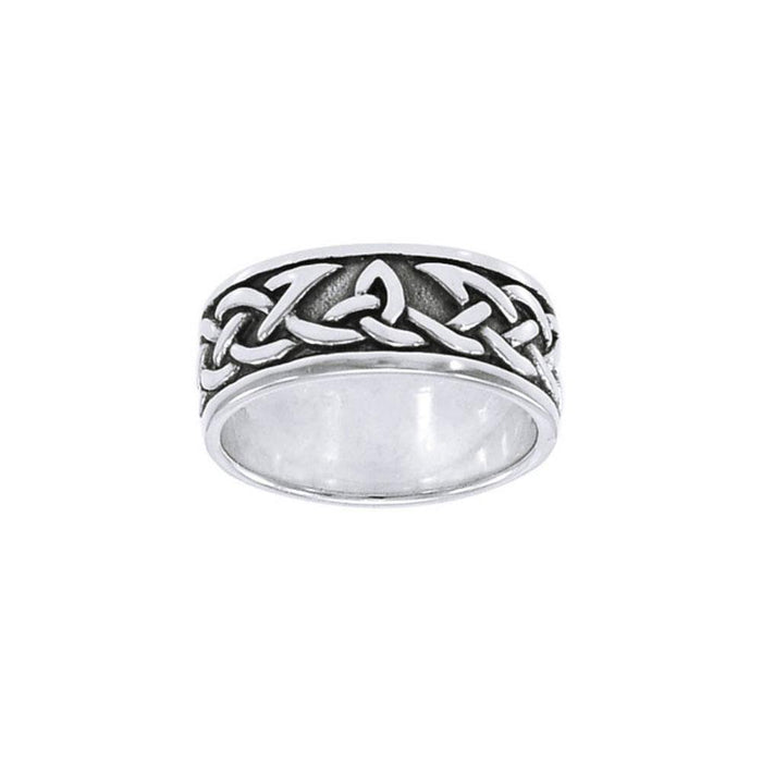 Honoring the eternal symbolism Celtic Knotwork ~ Sterling Silver Band Ring TRI1358