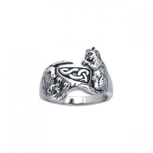Precious Furry Paws ~ Sterling Silver Celtic Cat Ring TRI140 peterstone.