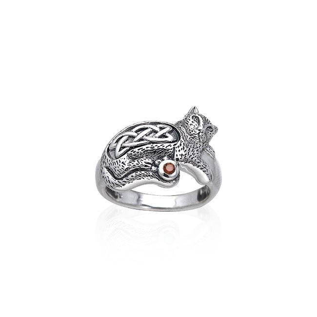 Drawn to the interesting Celtic Cat ~ Sterling Silver Jewelry Ring with Gemstone TRI141 peterstone.