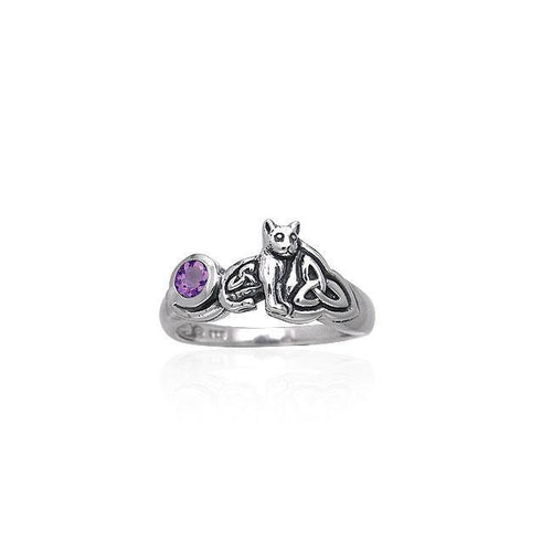Our revered companion ~ Sterling Silver Jewelry Celtic Cat Ring with Gemstone TRI142 peterstone.