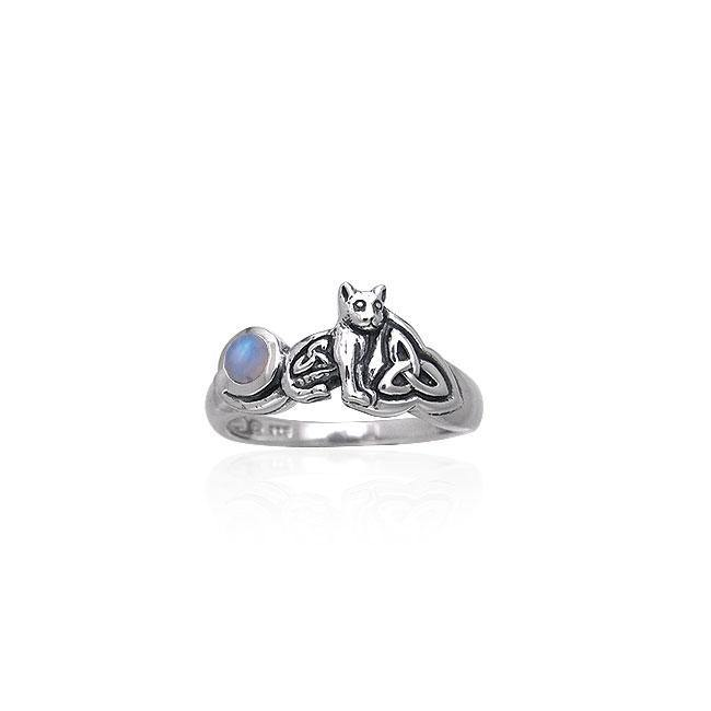 Our revered companion ~ Sterling Silver Jewelry Celtic Cat Ring with Gemstone TRI142