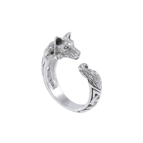 Sterling Silver Celtic Wolf Ring TRI1636 peterstone.